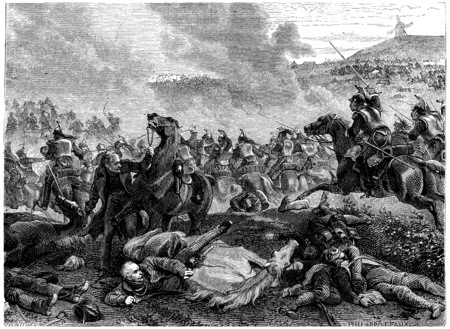 overthrown: Pin the Battle of Ligny, Blucher overthrown by the charge of cuirassiers, vintage engraved illustration. History of France – 1885. Stock Photo