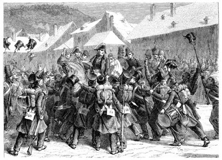 Proclamation of Marshal Ney in Lons-le-Saunier, vintage engraved illustration. History of France – 1885. Stock Illustration - 39824363