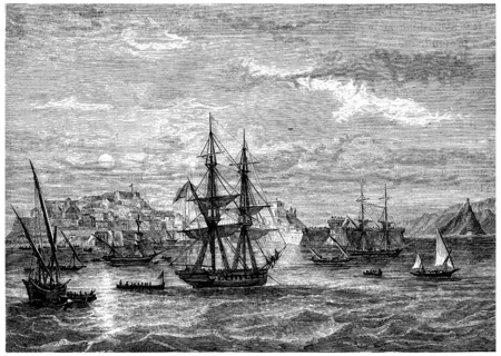 Departing from Elba, vintage engraved illustration. History of France – 1885.