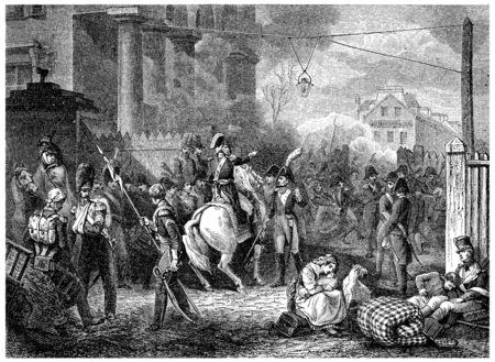 barrier: Defense barrier of Clichy, vintage engraved illustration. History of France – 1885.