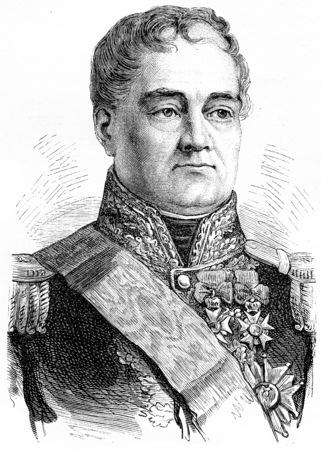 the marshal: Georges Mouton, comte de Lobau, vintage engraved illustration. History of France – 1885.