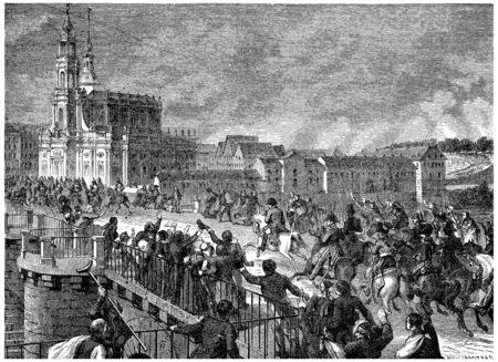 Napoleon at Dresden, vintage engraved illustration. History of France – 1885.