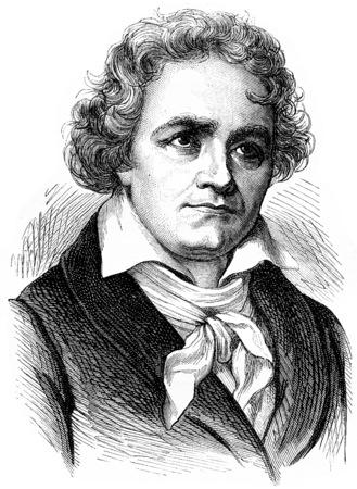 Beethoven, vintage engraved illustration. History of France – 1885. Banque d'images