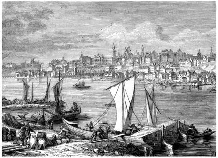 warsaw: Warsaw, vintage engraved illustration. History of France – 1885.. Stock Photo