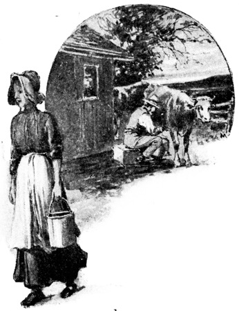 milking: Milk contains all the elements of perfect food, vintage engraved illustration.