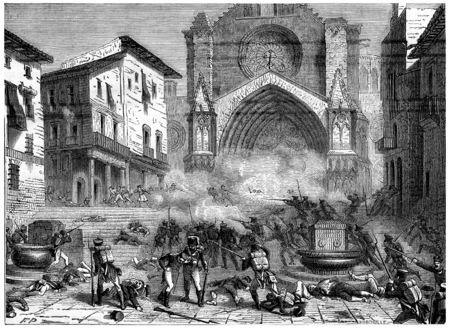 Taking Tarragona, vintage engraved illustration. History of France – 1885. illustration