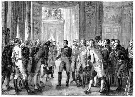napoleon: Napoleon in Dresden, vintage engraved illustration. History of France – 1885 . Stock Photo
