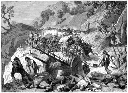 convoy: Convoys of wounded surprised and massacres by the guerrillas, vintage engraved illustration. History of France – 1885.