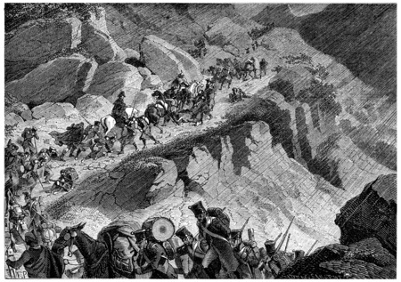 troop: Junots troops in the mountains of Northern Spain, vintage engraved illustration. History of France – 1885. Stock Photo