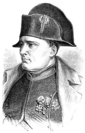 Napoleon, vintage engraved illustration. History of France – 1885. Banque d'images