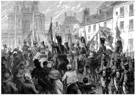 上院で意気揚々 とロシアおよびオーストリアのフラグ ドア、ヴィンテージには、図が刻まれています。フランス – 1885年の歴史。