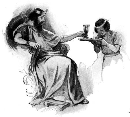 certain: In olden times certain royal cups, vintage engraved illustration.