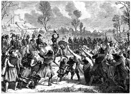 enthusiasm: Enthusiasm of people to the arrival of French troops in Poland, vintage engraved illustration. History of France – 1885.