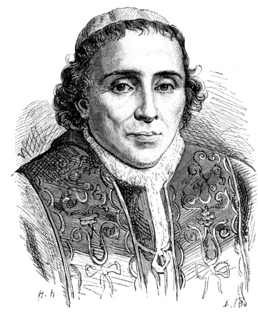 theologian: Pius VII, vintage engraved illustration. History of France – 1885.