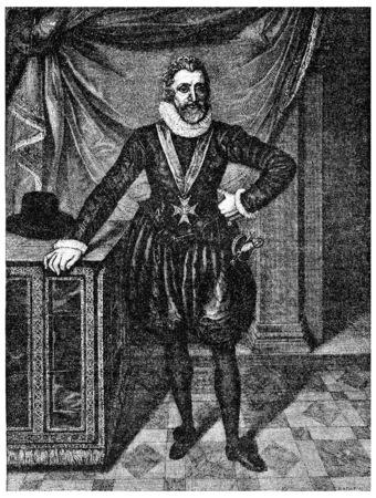 Henry IV of the table after François Porbus, vintage engraved illustration. Stock fotó