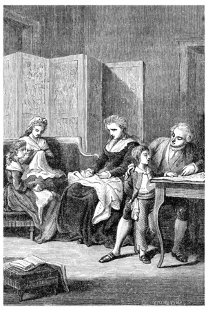 royal family: The royal family in the Temple, vintage engraved illustration. Stock Photo