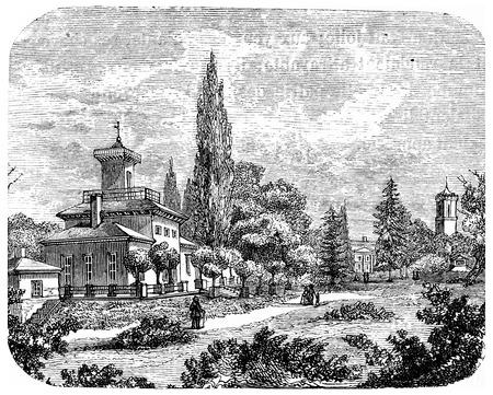 karlsruhe: Karlsruhe, vintage engraved illustration. From Chemin des Ecoliers, 1861.