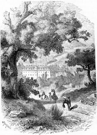 duke: Castle of the Grand Duke in Baden, vintage engraved illustration. From Chemin des Ecoliers, 1861.