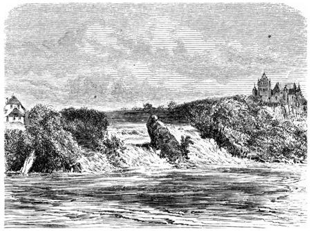 Renania del Otoño en Schaffhausen, ilustración de la vendimia grabado. De Chemin des Ecoliers, 1861. Foto de archivo - 39824857
