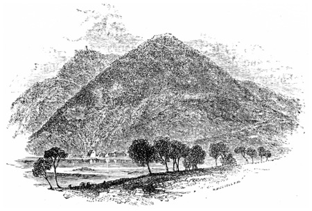 Mountain of All Saints, vintage engraved illustration. From Chemin des Ecoliers, 1861. Reklamní fotografie