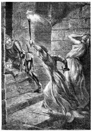 nun: Julienne du Guesclin in pontorson, vintage engraved illustration. Stock Photo