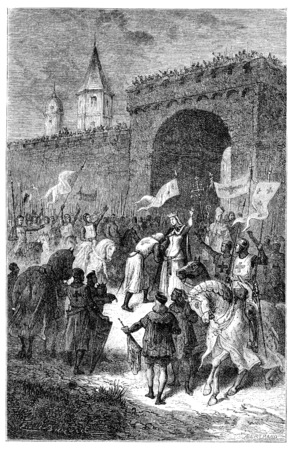 blanche: The farewell of St. Louis and Blanche of Castile, vintage engraved illustration.