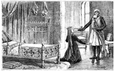 Margaret of Provence in Damietta, vintage engraved illustration. Фото со стока