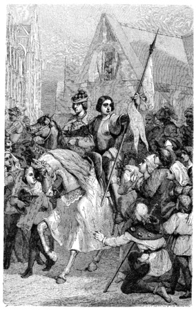 Joan of Arc and Charles VII in Reims, vintage engraved illustration. Stock Photo
