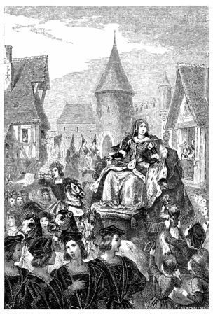 brittany: Entry of Anne of Brittany in Lyon, vintage engraved illustration. Stock Photo