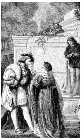King François I, said Mezeray if was wonderfully pleased the magnificence, vintage engraved illustration. illustration