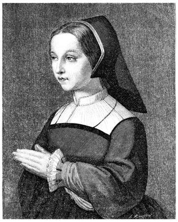 headwear: St. Jane Frances Fremyot, Chantal Baroness at the age of twenty, vintage engraved illustration.