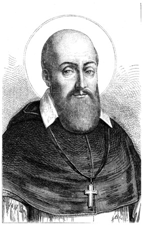 roman catholic: St. Francis de Sales, vintage engraved illustration.