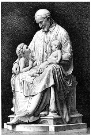paul: Saint Vincent de Paul, vintage engraved illustration.