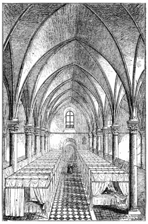 john: Interior view of St. Johns Hospital, Angers, first establishment of the Daughters of Charity in the provinces, vintage engraved illustration.