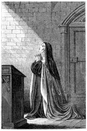 Mrs. Acarie Carmelite nun, vintage engraved illustration. Stock Photo