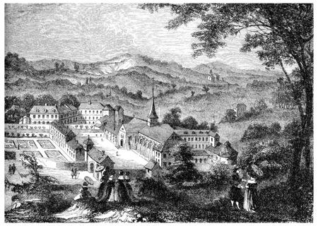 Port-Royal-des-Champs, na een gravure van de zeventiende eeuw, vintage gegraveerde illustratie. Stockfoto