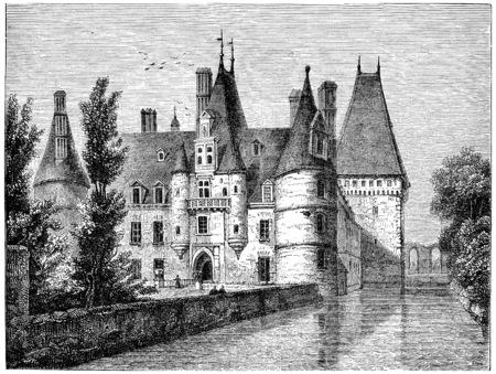 mansion: Chateau de Maintenon, vintage engraved illustration.