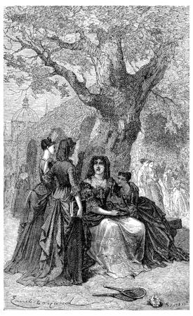 school nurse: Madame de Maintenon and students of Saint-Cyr, vintage engraved illustration.