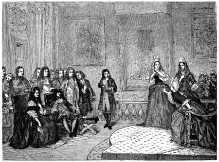marquise: Athalie, represented by the ladies of Saint-Cyr before the king and Madame de Maintenon, vintage engraved illustration.