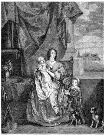 Henrietta Maria of France, vintage engraved illustration.