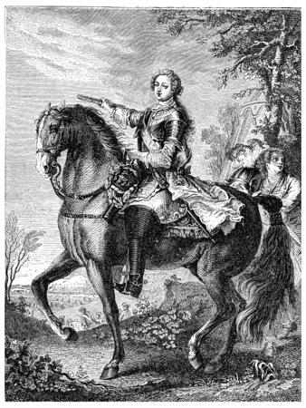 Louis XV on horseback, vintage engraved illustration.