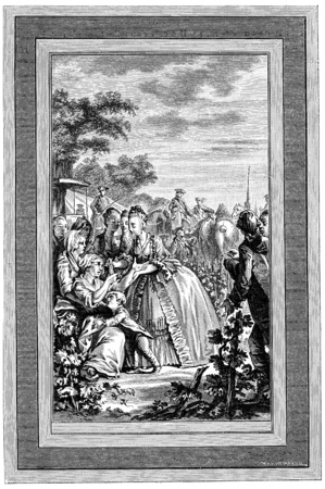 social history: Queen Marie Antoinette by alms, vintage engraved illustration.