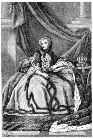 famous painting: Queen Marie Leszczynska, vintage engraved illustration.
