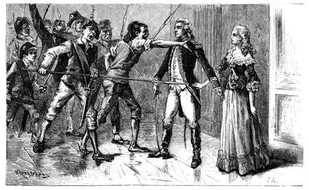 desprecio: No desilusionado si ella lloraba, el desprecio y la virtud sublime, ilustración de la vendimia grabado.