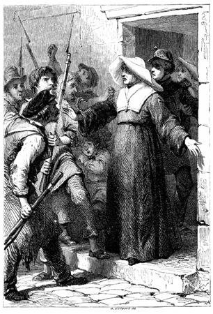 nun: Rosalie sister saved a mobile guard, vintage engraved illustration.