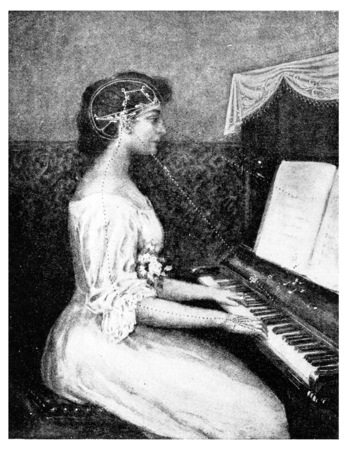 old piano: A brain picture- Ray of light from music to the eye, vintage engraved illustration.