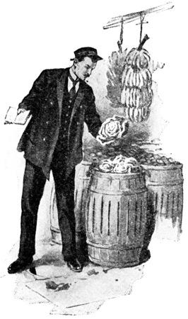 inspector: A city food inspector, vintage engraved illustration. Stock Photo