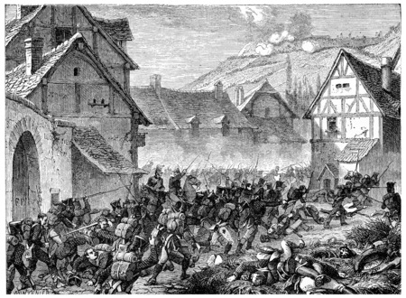 Battle of Laon, vintage engraved illustration. History of France – 1885.