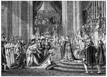 our: Ceremony of Consecration to Our Lady, vintage engraved illustration. History of France – 1885.