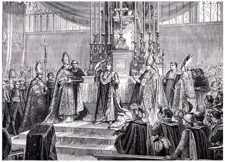 Napoleon raises the iron crown on his head, vintage engraved illustration. History of France – 1885. Stock Photo